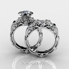 Art Masters Caravaggio 14K White Gold 1.0 Ct White Sapphire Diamond Engagement Ring Wedding Band Set R623S-14KWGDWS-2