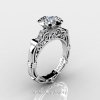 Art Masters Caravaggio 14K White Gold 1.0 Ct White Sapphire Diamond Engagement Ring Wedding Band Set R623S-14KWGDWS-3