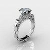 Art Masters Caravaggio 14K White Gold 1.0 Ct White Sapphire Diamond Engagement Ring Wedding Band Set R623S-14KWGDWS-3