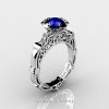 Art Masters Caravaggio 14K White Gold 1.0 Ct Blue Sapphire Diamond Engagement Ring Wedding Band Set R623S-14KWGDBS-2