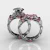 Art Masters Caravaggio 10K White Gold 1.0 Ct White Sapphire Rubies Engagement Ring Wedding Band Set R623S-10KWGRWS-3