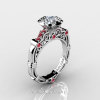 Art Masters Caravaggio 10K White Gold 1.0 Ct White Sapphire Rubies Engagement Ring Wedding Band Set R623S-10KWGRWS-2