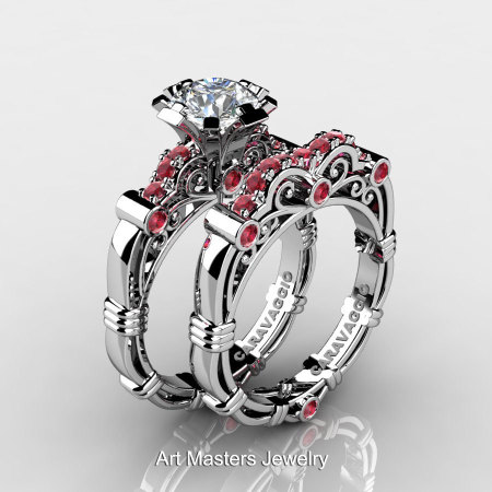 Art Masters Caravaggio 10K White Gold 1.0 Ct White Sapphire Rubies Engagement Ring Wedding Band Set R623S-10KWGRWS-1