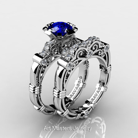 Art Masters Caravaggio 14K White Gold 1.0 Ct Blue Sapphire Diamond Engagement Ring Wedding Band Set R623S-14KWGDBS-1