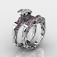 Art Masters Caravaggio 10K White Gold 1.0 Ct White and Pink Sapphire Engagement Ring Wedding Band Set R623S-10KWGPWS-1