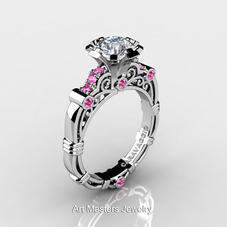 Art Masters Caravaggio 10K White Gold 1.0 Ct White and Pink Sapphire Engagement Ring R623-10KWGPWS-1