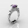 Art Masters Caravaggio 14K White Gold 1.0 Ct Amethyst Diamond Engagement Ring Wedding Band Set R623S-14KWGDAM-2