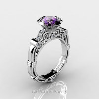 Art Masters Caravaggio 14K White Gold 1.0 Ct Amethyst Diamond Engagement Ring R623-14KWGDAM-1