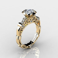 Art Masters Caravaggio 14K Yellow Gold 1.0 Ct White Sapphire Diamond Engagement Ring R623-14KYGDWS-1