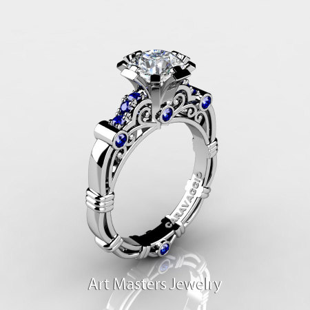 Art Masters Caravaggio 10K White Gold 1.0 Ct White and Blue Sapphire Engagement Ring R623-10KWGBSWS-1