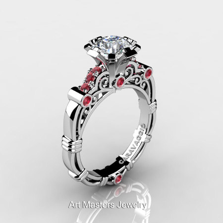 Art Masters Caravaggio 10K White Gold 1.0 Ct White Sapphire Rubies Engagement Ring R623-10KWGRWS-1