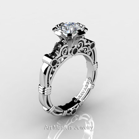 Art Masters Caravaggio 10K White Gold 1.0 Ct White Sapphire Black Diamond Engagement Ring R623-10KWGBDWS-1
