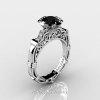 Art Masters Caravaggio 14K White Gold 1.0 Ct Black and White Diamond Engagement Ring Wedding Band Set R623S-14KWGDBD-2