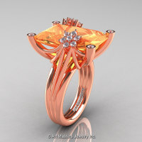 Art Masters Modern 10K Rose Gold 15.0 Ct Peach Sapphire Diamond Fantasy Cocktail Ring R292-10KRGDPES-1