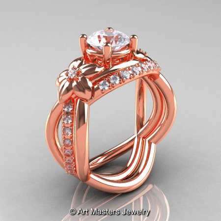 Nature Inspired 14K Rose Gold 1.0 Ct White Sapphire Diamond Leaf and Vine Wedding Ring Set R180S-14KRGDWS-1