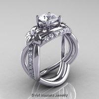 Nature Inspired 14K White Gold 1.0 Ct Cubic Zirconia and Diamond Leaf and Vine Wedding Ring Set R180S-14KWGDCZ-1