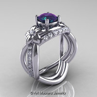 Nature Inspired 14K White Gold 1.0 Ct Alexandrite Diamond Leaf and Vine Wedding Ring Set R180S-14KWGDAL-1