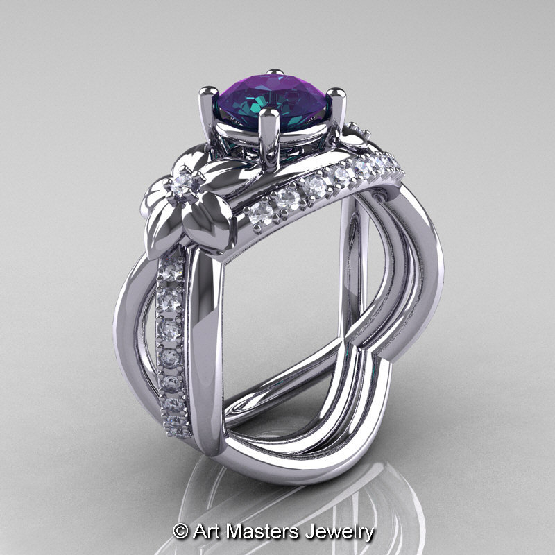 Nature Inspired 14K White Gold 20 Ct Alexandrite Diamond Leaf and