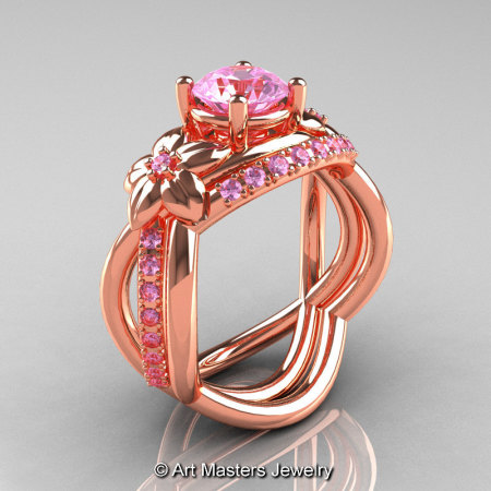 Nature Inspired 14K Rose Gold 1.0 Ct Light Pink Sapphire Leaf and Vine Wedding Ring Set R180S-14KRGLPS-1