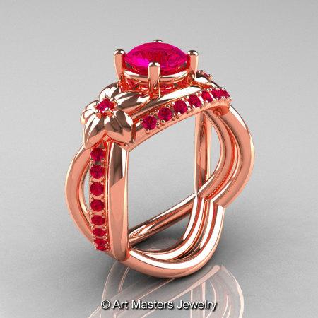 Nature Inspired 14K Rose Gold 1.0 Ct Rose Ruby Leaf and Vine Wedding Ring Set R180S-14KRGRR-1
