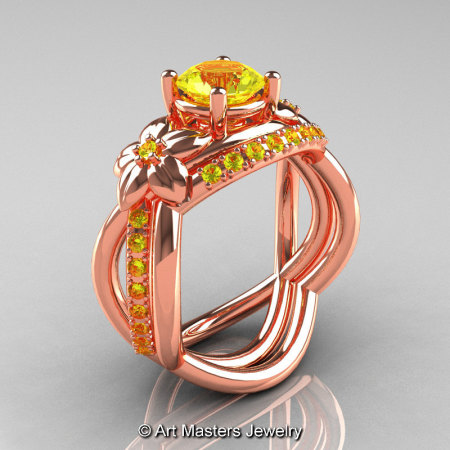 Nature Inspired 14K Rose Gold 1.0 Ct Yellow Sapphire Leaf and Vine Wedding Ring Set R180S-14KRGYS-1
