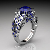 Art Masters Renoir 14K White Gold 3.0 Ct Blue Sapphire Diamond Nature Inspired Engagement Ring Wedding Ring R299-14KWGDBSS-1