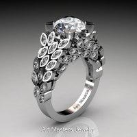 Art Masters Renoir 14K White Gold 3.0 Ct White Sapphire Diamond Nature Inspired Engagement Ring Wedding Ring R299-14KWGDWS-1