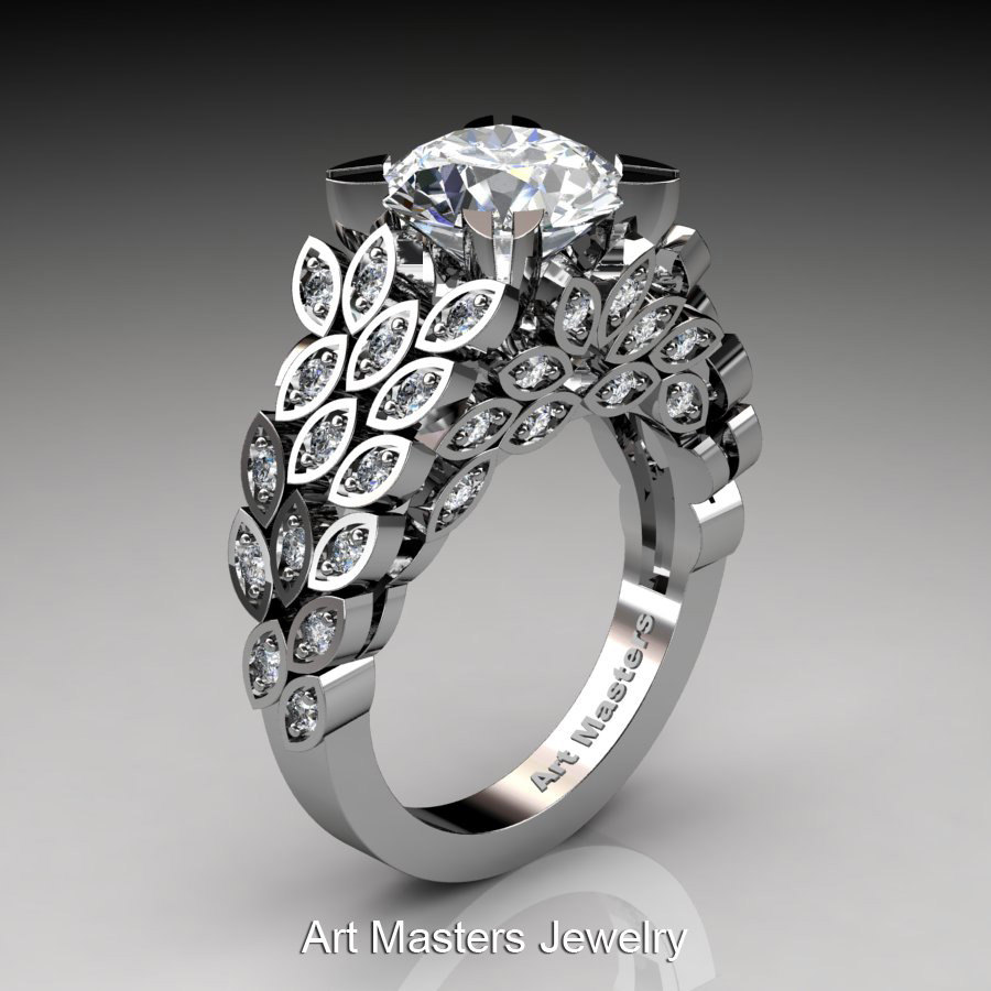 art masters renoir 14k white gold 30 ct white sapphire diamond nature inspired engagement ring wedding - Nature Inspired Wedding Rings