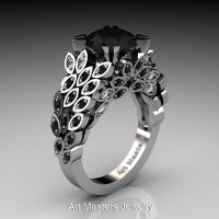 Art Masters Renoir 14K White Gold 3.0 Ct Black and White Diamond Nature Inspired Engagement Ring Wedding Ring R299-14KWGDBDD-1