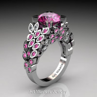 Art Masters Nature Inspired 14K White Gold 3.0 Ct Pink Sapphire Diamond Engagement Ring Wedding Ring R299-14KWGDPSS-1