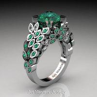 Art Masters Nature Inspired 14K White Gold 3.0 Ct Emerald Diamond Engagement Ring Wedding Ring R299-14KWGDEMM-1