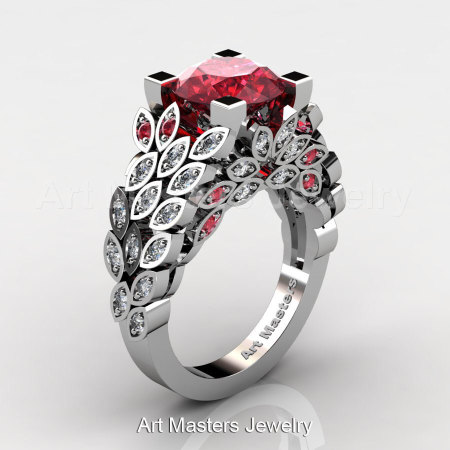 Art Masters Nature Inspired 14K White Gold 3.0 Ct Rubies Diamond Engagement Ring Wedding Ring R299-14KWGDR-1