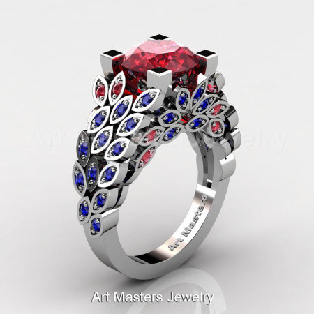 Art Masters Nature Inspired 14K White Gold 3.0 Ct Rubies Blue Sapphire Engagement Ring Wedding Ring R299-14KWGBSR-1