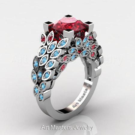 Art Masters Nature Inspired 14K White Gold 3.0 Ct Rubies Blue Topaz Engagement Ring Wedding Ring R299-14KWGBTR-1