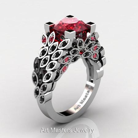 Art Masters Nature Inspired 14K White Gold 3.0 Ct Rubies Black Diamond Engagement Ring Wedding Ring R299-14KWGBDR-1