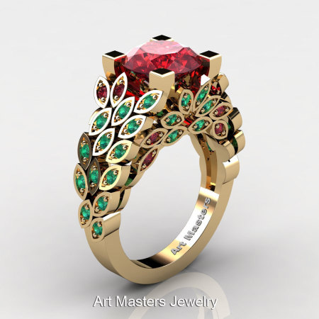 Art Masters Nature Inspired 14K Yellow Gold 3.0 Ct Rubies Emerald Engagement Ring Wedding Ring R299-14KYGEMR-1
