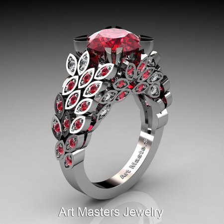 Art Masters Nature Inspired 14K White Gold 3.0 Ct Rubies Diamond Engagement Ring Wedding Ring R299-14KWGDRR-1