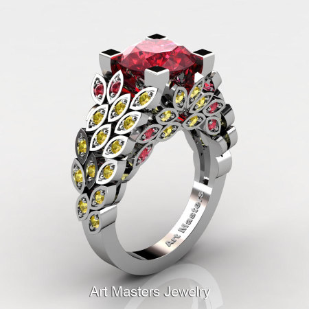 Art Masters Nature Inspired 14K White Gold 3.0 Ct Rubies Yellow Sapphire Engagement Ring Wedding Ring R299-14KWGYSR-1