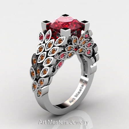 Art Masters Nature Inspired 14K White Gold 3.0 Ct Rubies Orange Sapphire Engagement Ring Wedding Ring R299-14KWGOSR-1