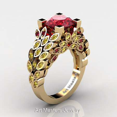 Art Masters Nature Inspired 14K Yellow Gold 3.0 Ct Rubies Yellow Sapphire Engagement Ring Wedding Ring R299-14KYGYSR-1