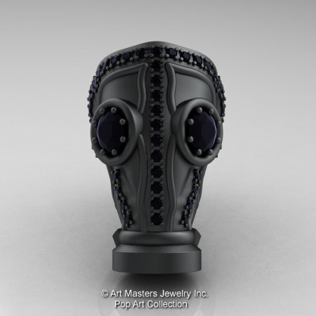 Art Masters Avant Garde Mens 14K Matte Black Gold 2.0 Ct Black Diamond Gas Mask Ring R184M-14KMBGBD-1