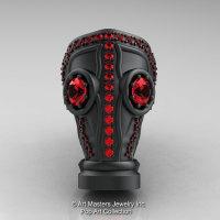 Art Masters Avant Garde Mens 14K Matte Black Gold 2.0 Ct Rubies Gas Mask Ring R184M-14KMBGR-1