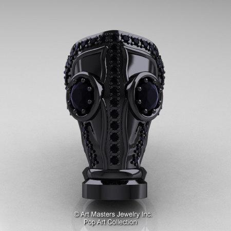 Art Masters Avant Garde Mens 14K Black Gold 2.0 Ct Black Diamond Gas Mask Ring R184M-14KBGBD-1
