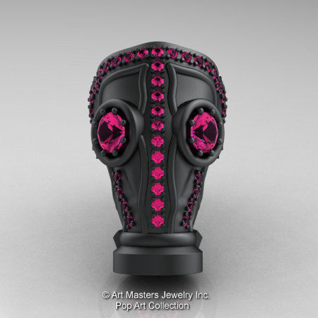 Art Masters Avant Garde Mens 14K Matte Black Gold 2.0 Ct Pink Sapphire Gas Mask Ring R184M-14KMBGPS-1