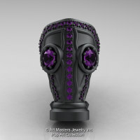 Art Masters Pop Art Mens 14K Matte Black Gold 2.0 Ct Amethyst Gas Mask Ring R184M-14KMBGAM-1