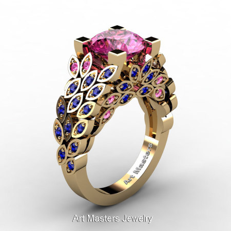 Art Masters Nature Inspired 14K Yellow Gold 3.0 Ct Pink and Blue Sapphire Engagement Ring Wedding Ring R299-14KYGBPS-1