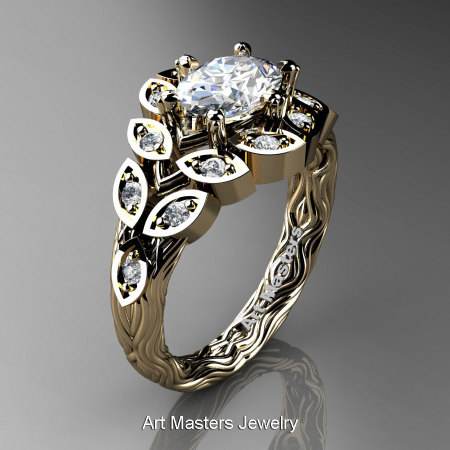 Art Masters Nature Inspired 14K Yellow Gold 1.0 Ct Oval White Sapphire Diamond Leaf and Vine Solitaire Ring R267-14KYGDWS-1