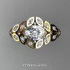 Art Masters Nature Inspired 14K Yellow Gold 1.0 Ct Oval White Sapphire Diamond Leaf and Vine Solitaire Ring R267-14KYGDWS-2