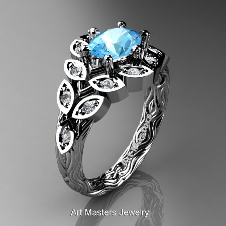 Art Masters Nature Inspired 14K White Gold 1.0 Ct Oval Blue Topaz Diamond Leaf and Vine Solitaire Ring R267-14KWGDBT-1