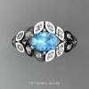 Art Masters Nature Inspired 14K White Gold 1.0 Ct Oval Blue Topaz Diamond Leaf and Vine Solitaire Ring R267-14KWGDBT-2